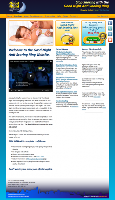 Good Night Anti-Snoring Ring – Website Redesign