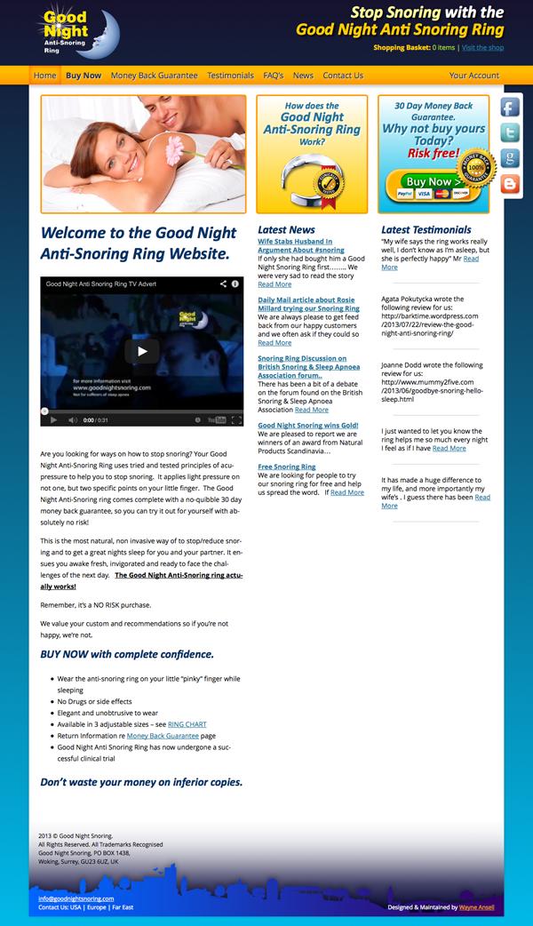 Good Night Snoring Website - New