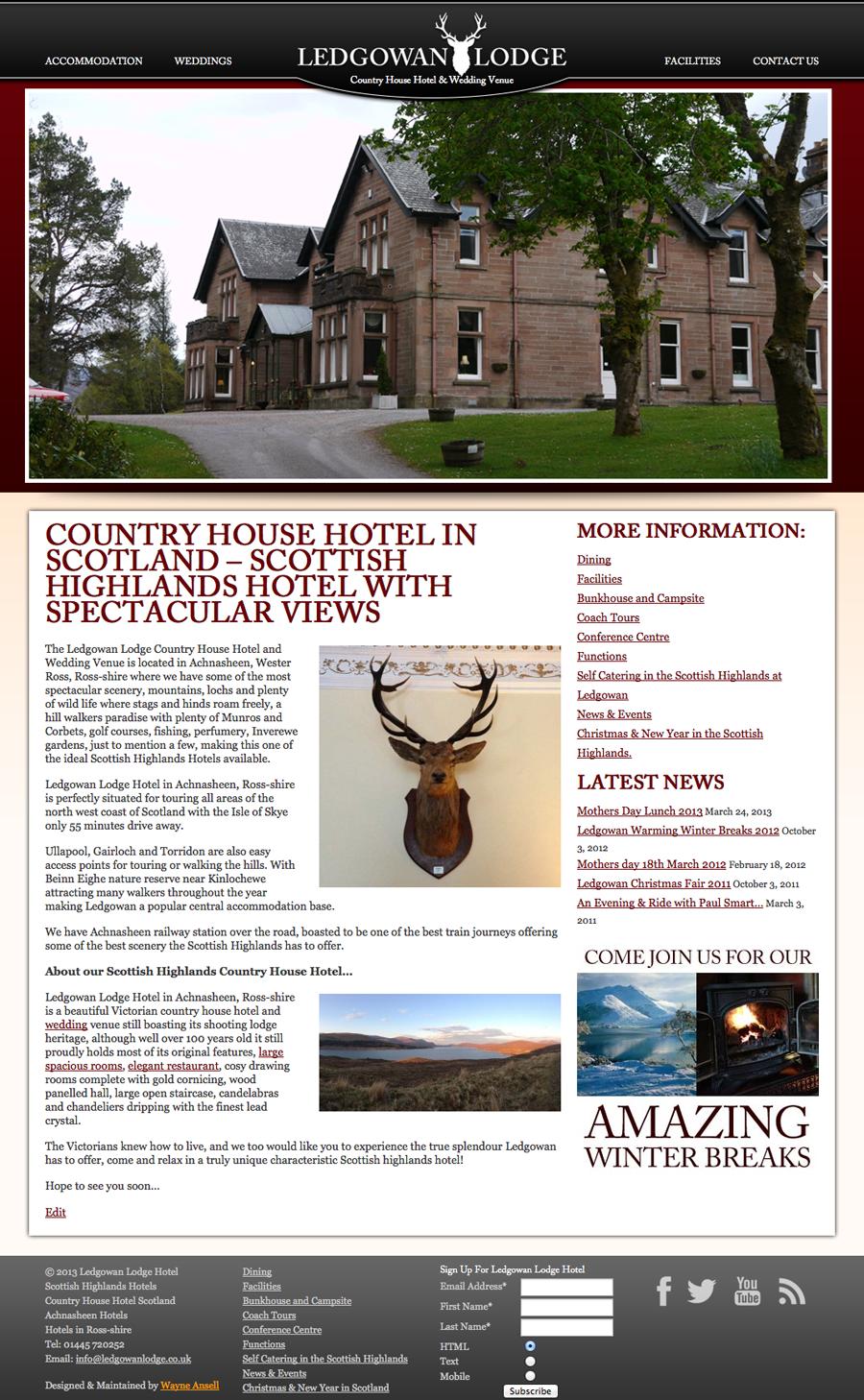 Ledgowan Lodge - New Website Design