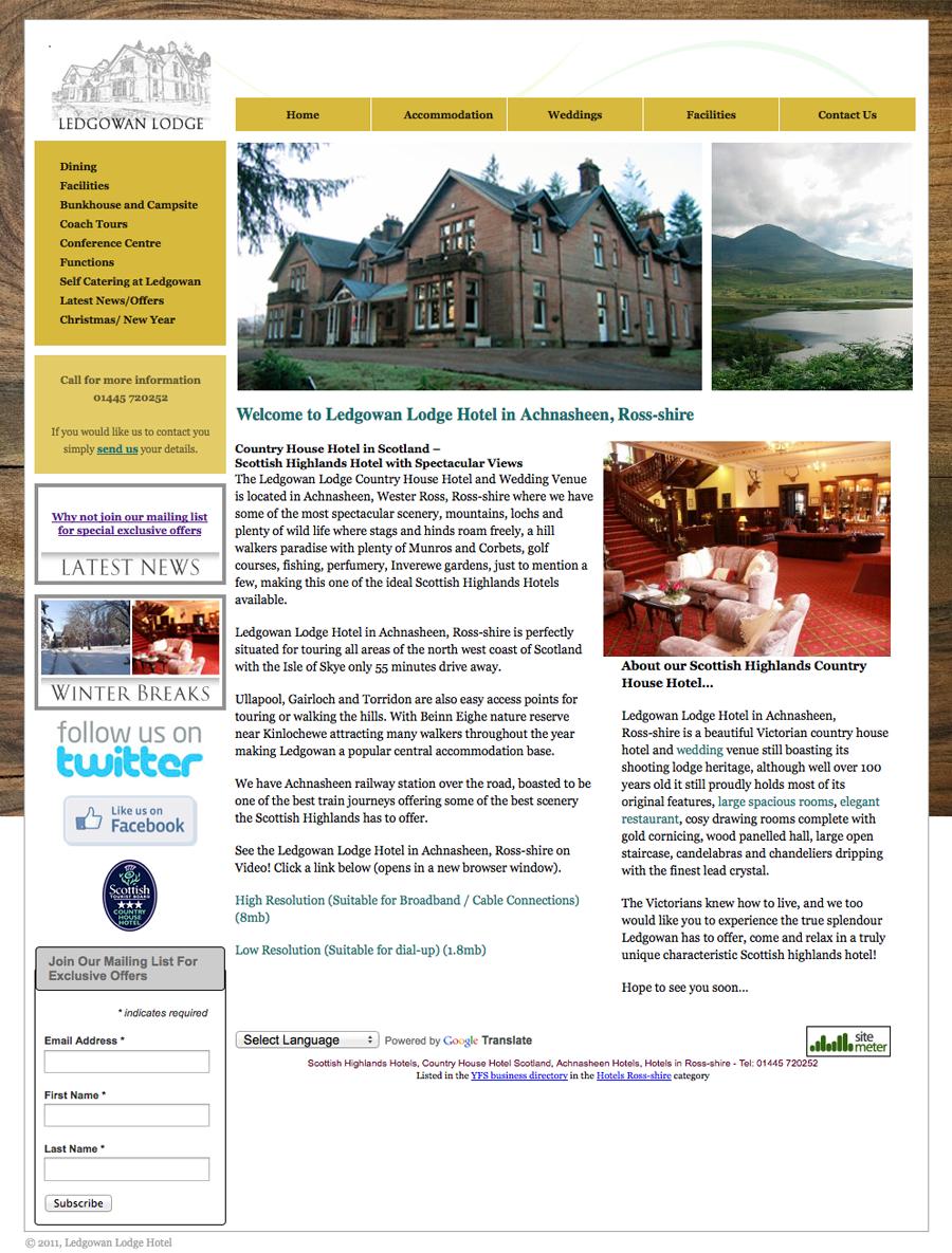 Ledgowan Lodge - Old Website Design