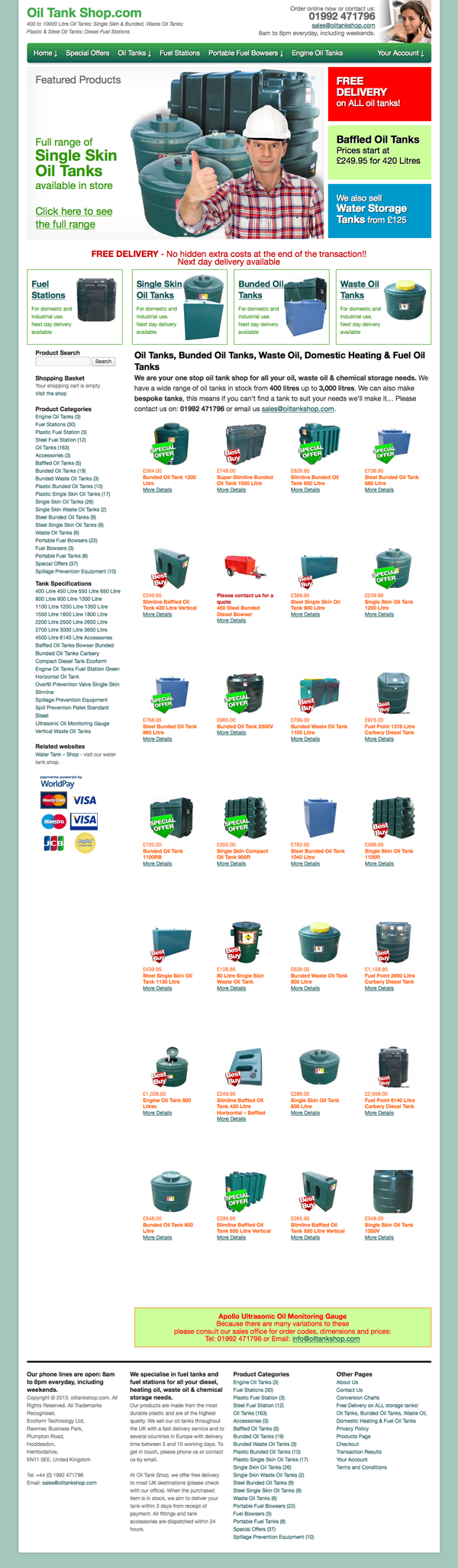 Oiltank Shop Home Page