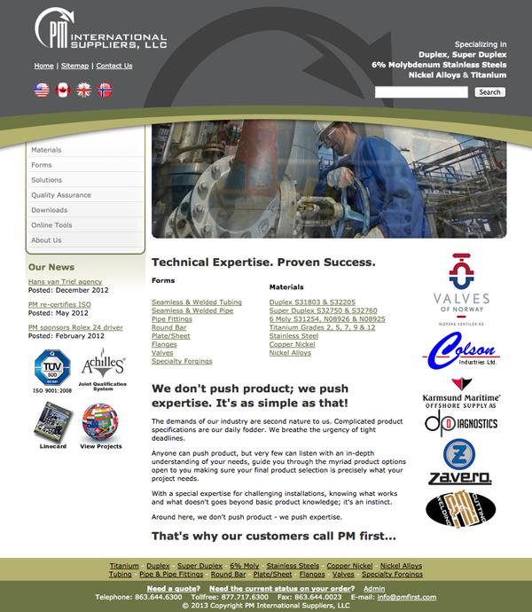 PM First International - Old Website Design