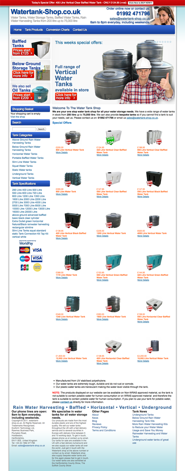 Watetank Shop Home Page